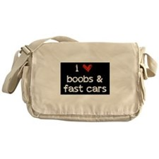 i heart boobs and fast cars Messenger Bag