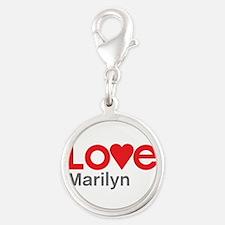 I Love Marilyn Silver Round Charm