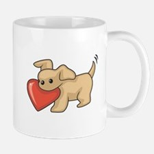 Adorable Puppy Holding Heart Mug
