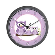 Cute Girls owl Wall Clock