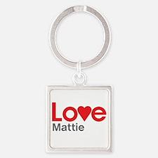 I Love Mattie Square Keychain