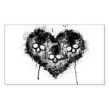 Black Skull Heart Grunge Decal