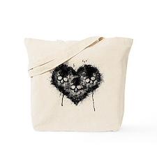 Black Skull Heart Grunge Tote Bag
