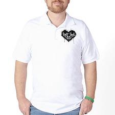 Black Skull Heart Grunge T-Shirt