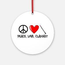 Peace, Love, Clarinet Ornament (Round)