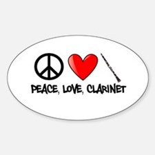 Peace, Love, Clarinet Decal