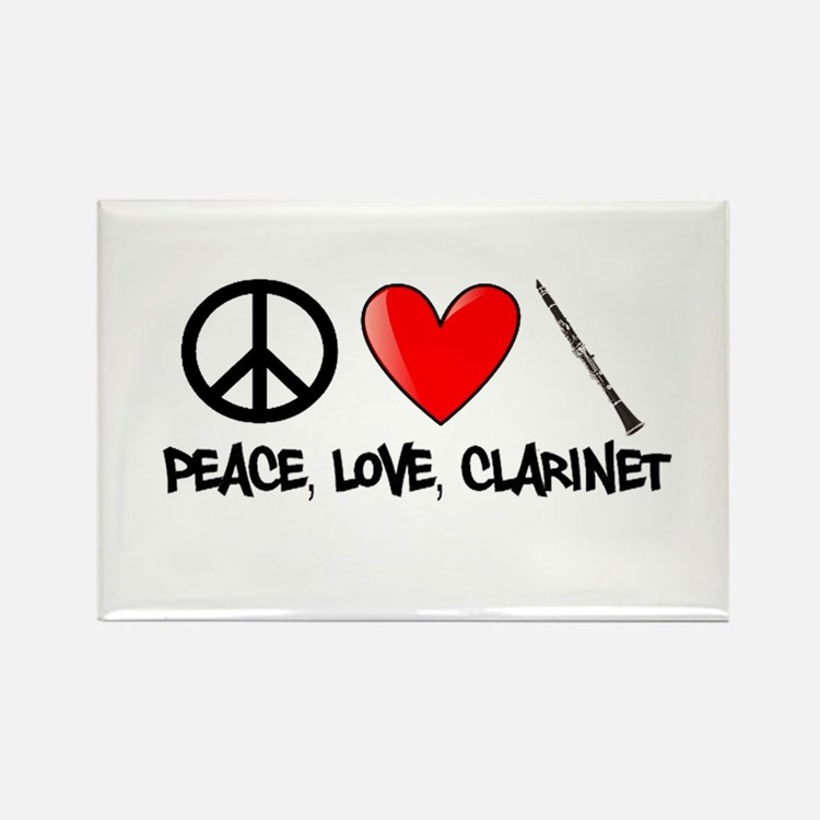 Peace, Love, Clarinet Rectangle Magnet