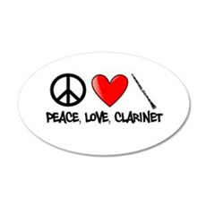 Peace, Love, Clarinet Wall Decal
