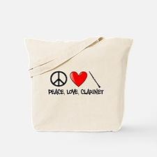 Peace, Love, Clarinet Tote Bag