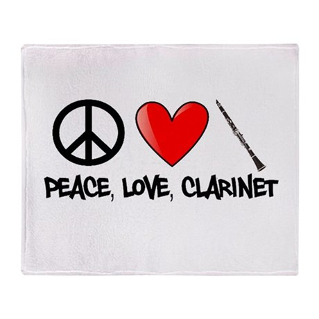 Peace, Love, Clarinet Throw Blanket