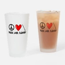 Peace, Love, Clarinet Drinking Glass