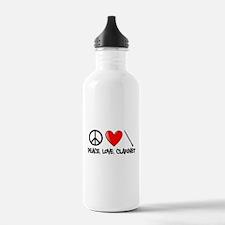 Peace, Love, Clarinet Water Bottle
