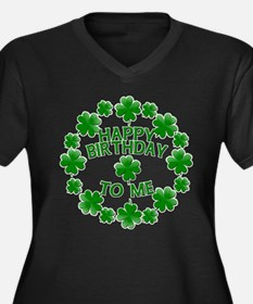 Shamrocks Happy Birthday to Me Women's Plus Size V