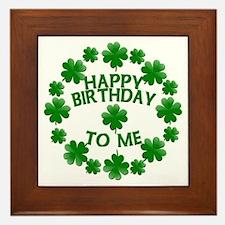 Shamrocks Happy Birthday to Me Framed Tile