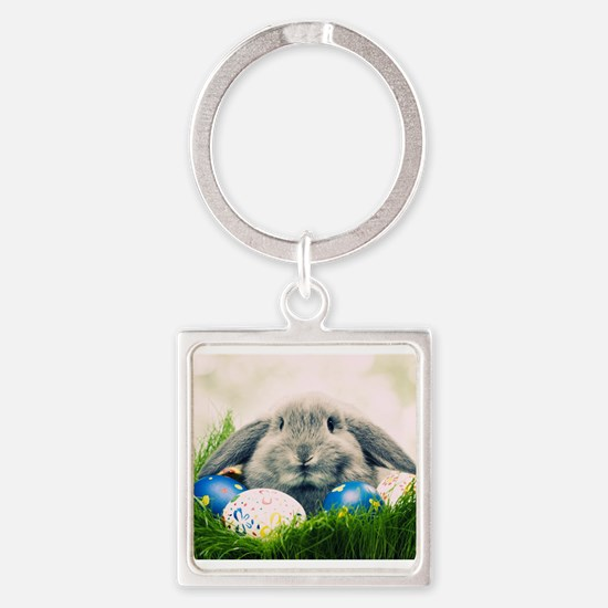 bunny and eggs Square Keychain