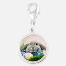 bunny and eggs Silver Round Charm