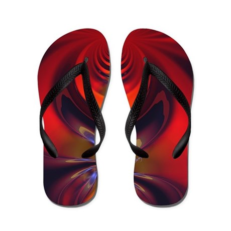 Abstract Fractal Amber Goddess Flip Flops