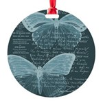 French Butterflies Teal Ornament