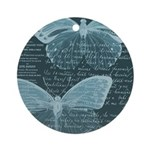 French Butterflies Teal Ornament (Round)