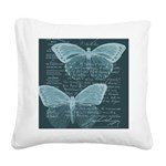 French Butterflies Teal Square Canvas Pillow