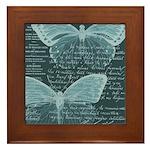 French Butterflies Teal Framed Tile