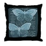 French Butterflies Teal Throw Pillow