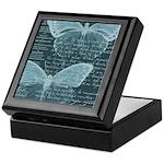 French Butterflies Teal Keepsake Box