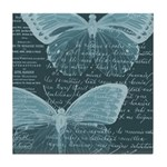 French Butterflies Teal Tile Coaster
