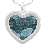French Butterflies Teal Silver Heart Necklace