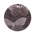 French Butterflies Brown Ornament (Round)