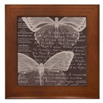 French Butterflies Brown Framed Tile