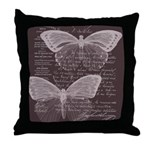 French Butterflies Brown Throw Pillow