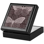 French Butterflies Brown Keepsake Box