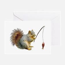 Fishing Squirrel Greeting Card