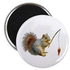Fishing Squirrel Magnet