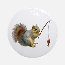Fishing Squirrel Ornament (Round)