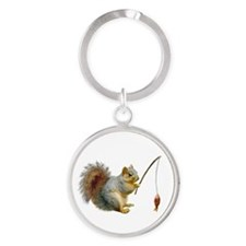 Fishing Squirrel Round Keychain