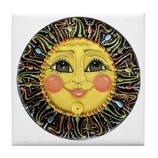 Sun Face #2 (blk) Tile Coaster