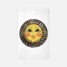 Sun Face #2 (blk) 3'x5' Area Rug