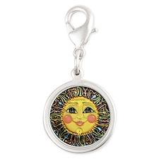 Sun Face #2 (blk) Silver Round Charm
