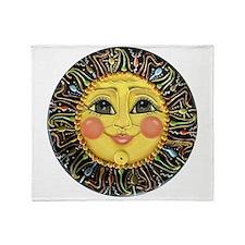 Sun Face #2 (blk) Throw Blanket