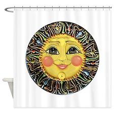 Sun Face #2 (blk) Shower Curtain