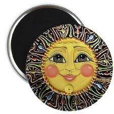 "Sun Face #2 (blk) 2.25"" Magnet (100 pack)"