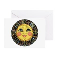 Sun Face #2 (blk) Greeting Card