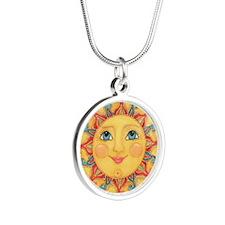Sun Face #3 - Summer Silver Round Necklace