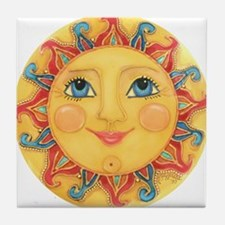 Sun Face #3 - Summer Tile Coaster
