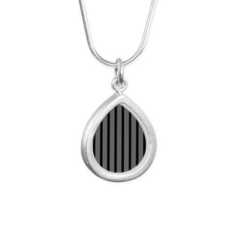 Black and Gray Striped Silver Teardrop Necklace