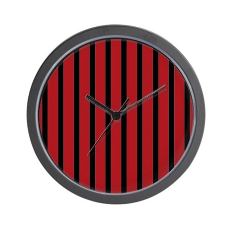 Red and black stripes wall clock by stripstrapstripes for Red and black wall clock