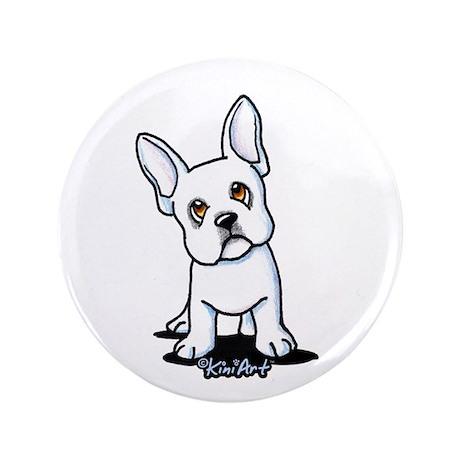 """White French Bulldog 3.5"""" Button"""