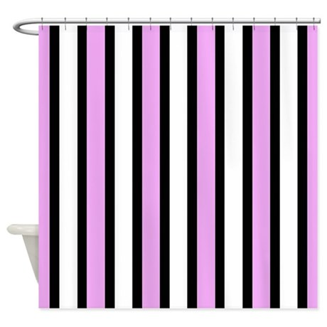 Pink And Black Stripes Shower Curtain By Stripstrapstripes